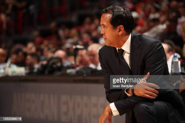 head coach Erik Spoelstra of the Miami Heat looks on against the New York Knicks on October 24 2018 at American Airlines Arena in Miami Florida NOTE...