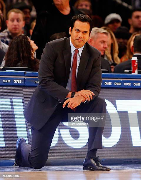 Head coach Erik Spoelstra of the Miami Heat looks on against the New York Knicks at Madison Square Garden on November 27 2015 in New York City The...