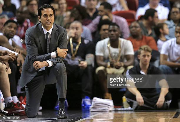 Head coach Erik Spoelstra of the Miami Heat looks on during a game against the Atlanta Hawks at American Airlines Arena on January 31 2016 in Miami...