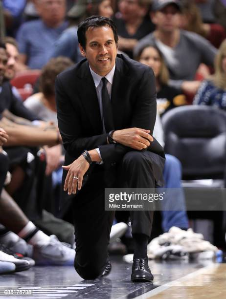 Head coach Erik Spoelstra of the Miami Heat looks on during a game against the Orlando Magic at American Airlines Arena on February 13 2017 in Miami...