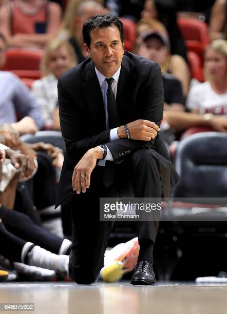 Head coach Erik Spoelstra of the Miami Heat looks on during a game against the Cleveland Cavaliers at American Airlines Arena on March 4 2017 in...