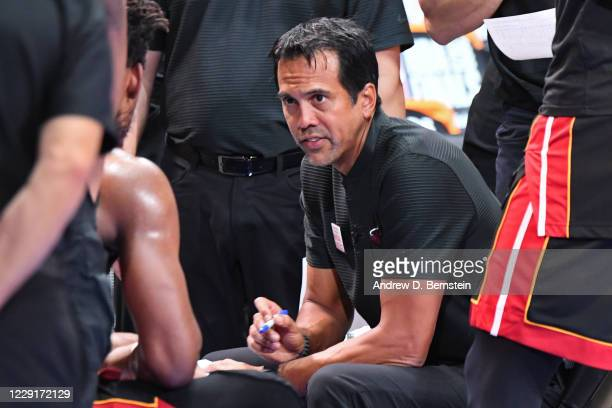 Head Coach Erik Spoelstra of the Miami Heat looks on during Game Six of the NBA Finals on October 11, 2020 at The AdventHealth Arena at ESPN Wide...