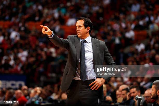 Head Coach Erik Spoelstra of the Miami Heat looks on during the game against the Washington Wizards on December 6, 2019 at American Airlines Arena in...