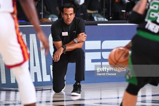 Head Coach Erik Spoelstra of the Miami Heat looks on during the game against the Boston Celtics during Game Two of the Eastern Conference Finals on...