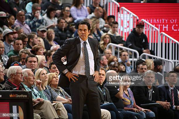 Head Coach Erik Spoelstra of the Miami Heat looks on during the game against the Utah Jazz on January 9 2016 at vivintSmartHome Arena in Salt Lake...