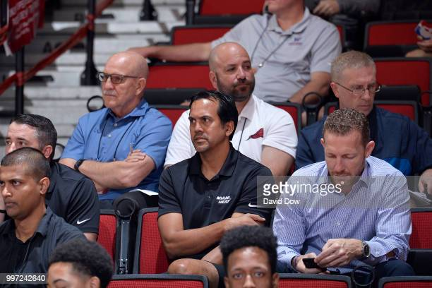 Head Coach Erik Spoelstra of the Miami Heat looks on during the game against the New Orleans Pelicans during the 2018 Las Vegas Summer League on July...