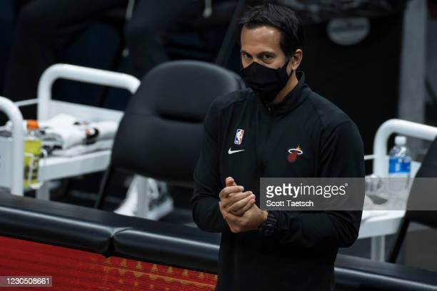 Head coach Erik Spoelstra of the Miami Heat looks on during the second half of the game against the Washington Wizards at Capital One Arena on...