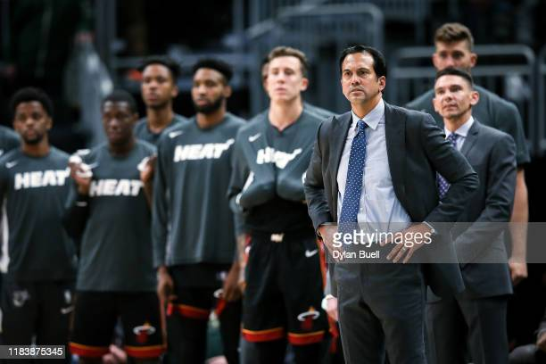 Head coach Erik Spoelstra of the Miami Heat looks on in overtime against the Milwaukee Bucks at the Fiserv Forum on October 26, 2019 in Milwaukee,...