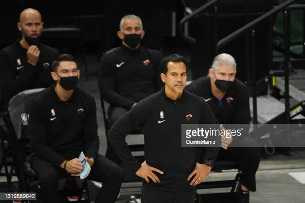 Head Coach Erik Spoelstra of the Miami Heat looks on in the fourth quarter against the Milwaukee Bucks during Game Two of their Eastern Conference...