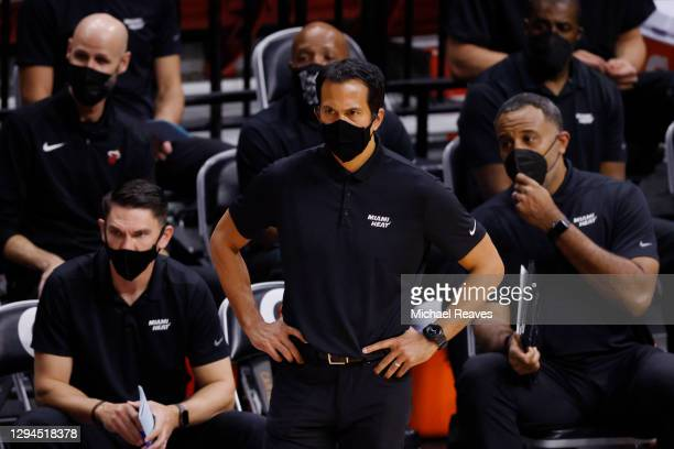 Head coach Erik Spoelstra of the Miami Heat reacts against the Oklahoma City Thunder during the second quarter at American Airlines Arena on January...