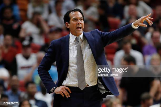 Head coach Erik Spoelstra of the Miami Heat reacts against the Minnesota Timberwolves during the second half at American Airlines Arena on February...