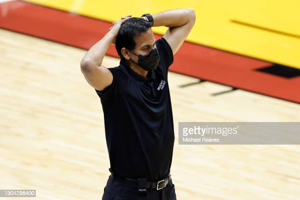 Head coach Erik Spoelstra of the Miami Heat reacts against the Utah Jazz during the fourth quarter at American Airlines Arena on February 26, 2021 in...
