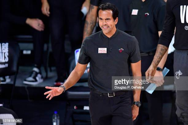 Head coach Erik Spoelstra of the Miami Heat reacts during the second half against the Los Angeles Lakers in Game Two of the 2020 NBA Finals at...