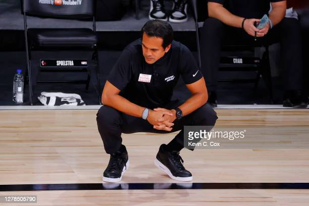 Head coach Erik Spoelstra of the Miami Heat reacts during the second half against the Los Angeles Lakers in Game Three of the 2020 NBA Finals at...