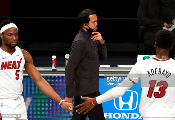 Head coach Erik Spoelstra of the Miami Heat reacts during the second half against the Brooklyn Nets at Barclays Center on January 25, 2021 in the...