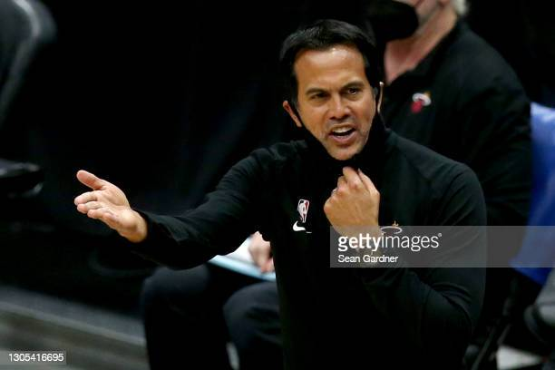 Head coach Erik Spoelstra of the Miami Heat reacts during the third quarter of an NBA game against the New Orleans Pelicans at Smoothie King Center...