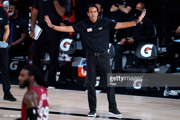 Head coach Erik Spoelstra of the Miami Heat reacts from the sideline during the second half of an NBA basketball game against the Phoenix Suns at...