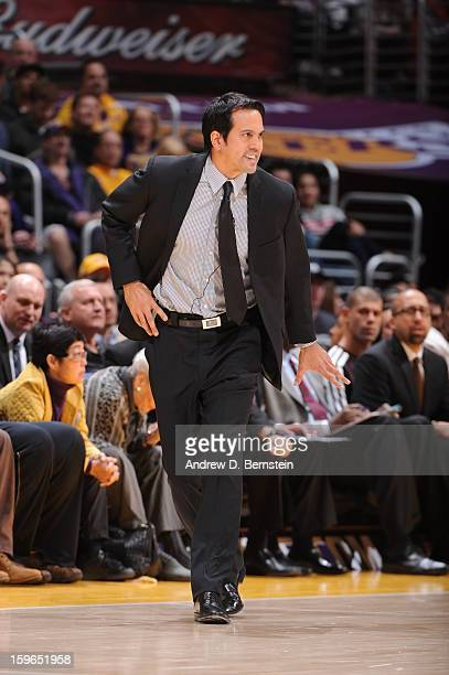 Head coach Erik Spoelstra of the Miami Heat reacts in a game against the Los Angeles Lakers at Staples Center on January 15 2013 in Los Angeles...