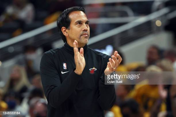 Head coach Erik Spoelstra of the Miami Heat reacts in the third quarter against the Indiana Pacers at Gainbridge Fieldhouse on October 23, 2021 in...
