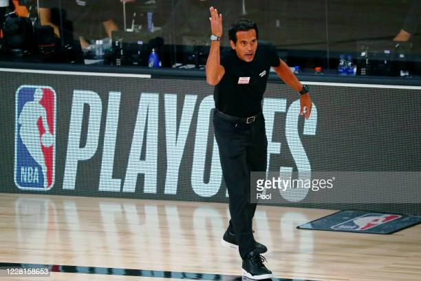 Head coach Erik Spoelstra of the Miami Heat reacts to a play during the first half of Game 3 of an NBA basketball first-round playoff series against...
