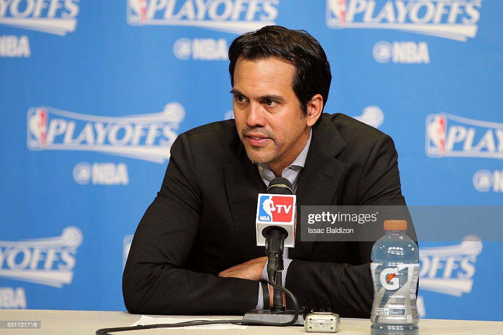 Head Coach Erik Spoelstra of the Miami Heat speaks at a press conference after Game Six of the Eastern Conference Semifinals against the Toronto Raptors during the 2016 NBA Playoffs on May 13, 2016 at AmericanAirlines Arena in Miami, Florida.