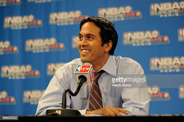 Head coach Erik Spoelstra of the Miami Heat speaks to reporters before the game against the New Jersey Nets during the 2008 NBA Europe Live Tour on...