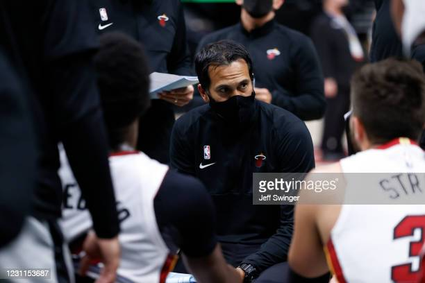 Head Coach Erik Spoelstra of the Miami Heat talks to the team during the game against the Utah Jazz on February 13, 2021 at vivint.SmartHome Arena in...