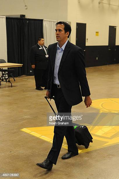Head Coach Erik Spoelstra of the Miami Heat walks into the arena prior to the game against the San Antonio Spurs during Game 1 of the 2014 NBA Finals...