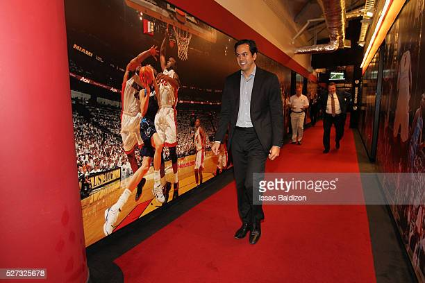 Head Coach Erik Spoelstra of the Miami Heat walks towards the locker room prior to Game Seven of the Eastern Conference Quarterfinals against the...