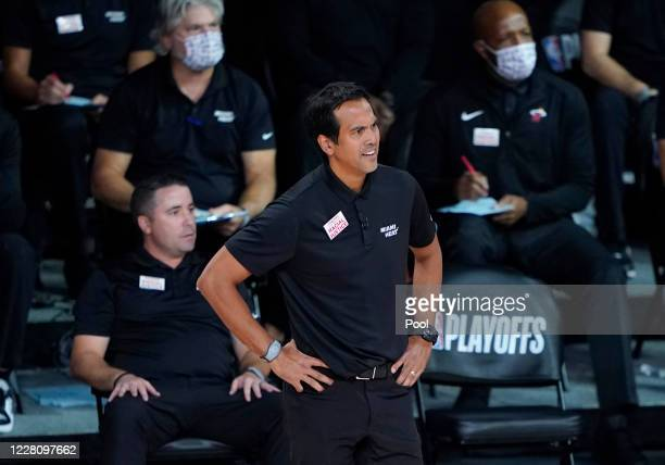 Head coach Erik Spoelstra of the Miami Heat watches during the second half at AdventHealth Arena at ESPN Wide World Of Sports Complex on August 18,...