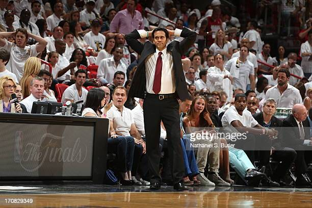 Head Coach Erik Spoelstra of the Miami Heat while playing against the San Antonio Spurs in Game Six of the 2013 NBA Finals on June 18 2013 at...