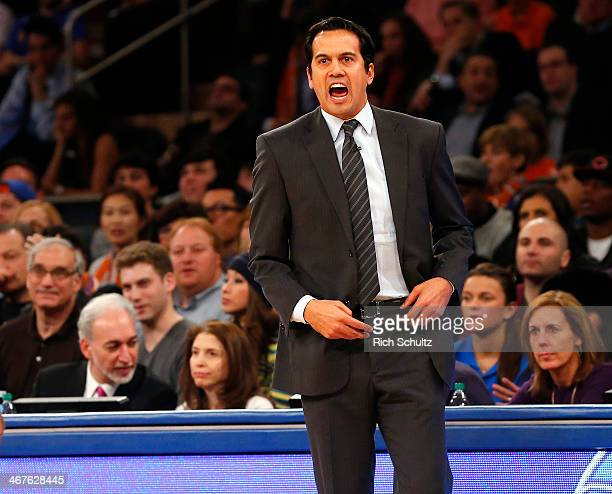Head coach Erik Spoelstra of the Miami Heat yells to his team during the first half of a game against the New York Knicks at Madison Square Garden on...
