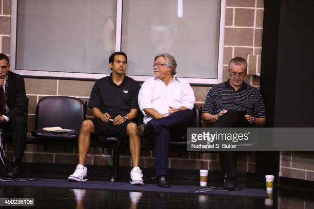 Head Coach Erik Spolestra Owner Micky Arison and President of Basketball Operations Pat Riley of the Miami Heat takes in practice and media...