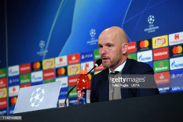 Head coach Erik ten Hag of Ajax answers questions during a press conference after the UEFA Champions League Quarter Final second leg match between...