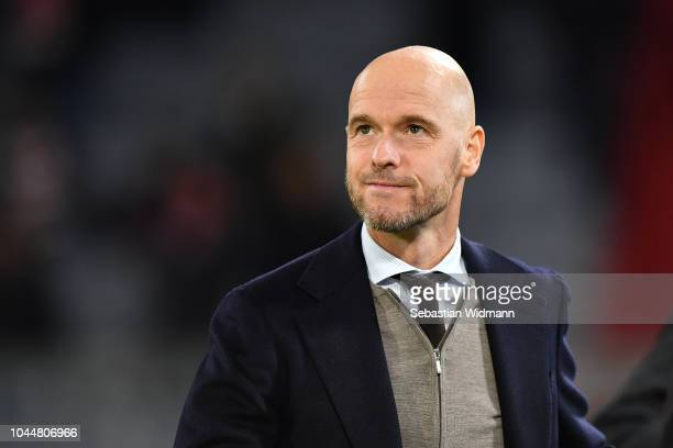 Head coach Erik Ten Hag of Ajax looks on prior to the Group E match of the UEFA Champions League between FC Bayern Muenchen and Ajax at Allianz Arena...