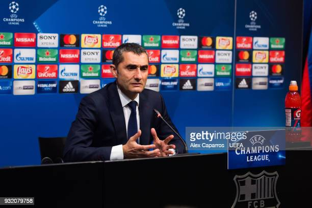Head coach Ernesto Valverde of FC Barcelona faces the media after the UEFA Champions League Round of 16 Second Leg match between FC Barcelona and...