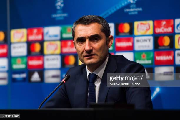Head coach Ernesto Valverde of FC Barcelona faces the media after the UEFA Champions League Quarter Final Leg One match between FC Barcelona and AS...