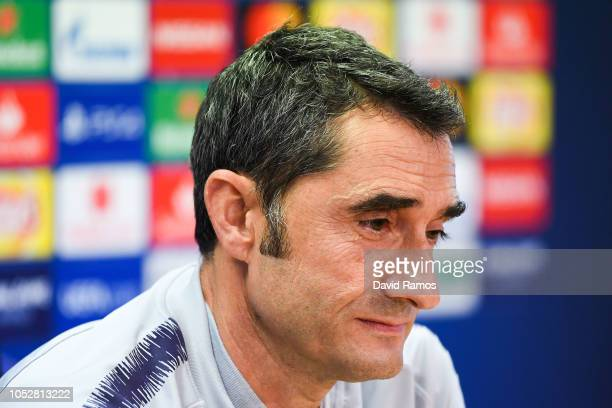 Head coach Ernesto Valverde of FC Barcelona faces the media during a press conference ahead of the UEFA Champions League Group B match between FC...