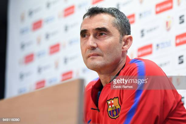 Head coach Ernesto Valverde of FC Barcelona faces the media during a press conference ahead of the Spanish Copa del Rey Final match at the Ciutat...