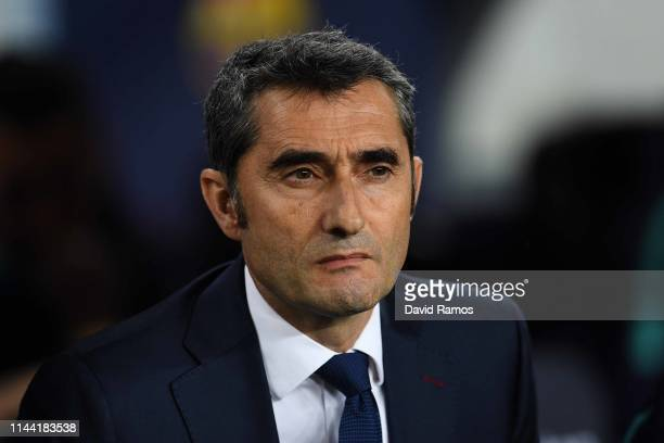 Head coach Ernesto Valverde of FC Barcelona looks on ahead of the La Liga match between FC Barcelona and Real Sociedad at Camp Nou on April 20 2019...