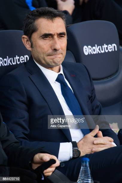Head coach Ernesto Valverde of FC Barcelona looks on ahead of the La Liga match between FC Barcelona and Celta de Vigo at Camp Nou on December 2 2017...
