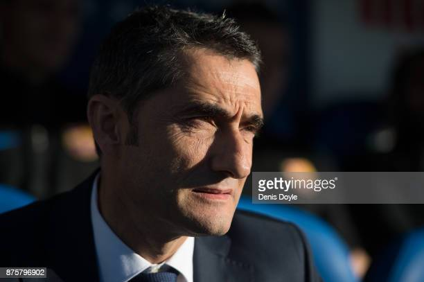 Head coach Ernesto Valverde of FC Barcelona looks on before the La Liga match between Leganes and Barcelona at Estadio Municipal de Butarque on...