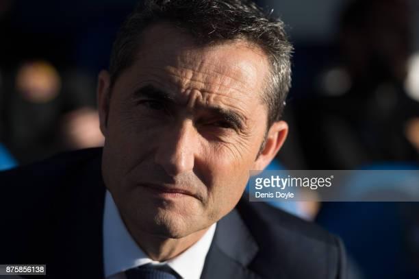 Head coach Ernesto Valverde of FC Barcelona looks on before the La Liga match between Leganes and Barcelona at Estadio Municipal de Butarque on...