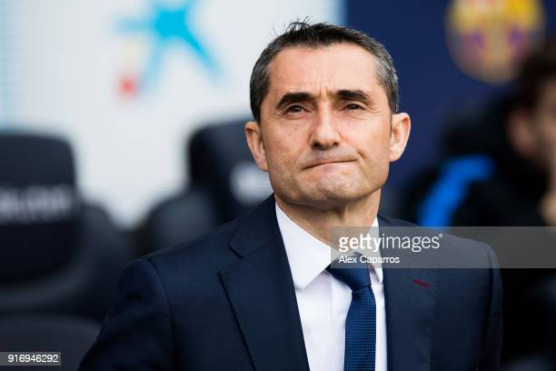 Head coach Ernesto Valverde of FC Barcelona looks on before the La Liga match between Barcelona and Getafe at Camp Nou on February 11 2018 in...