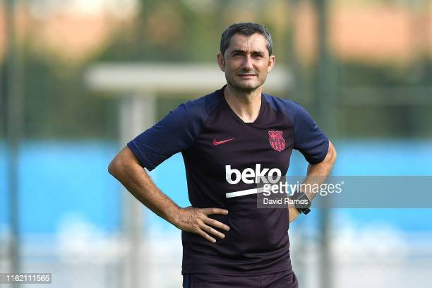 Head coach Ernesto Valverde of FC Barcelona looks on during a training session at Ciutat Esportiva of Sant Joan Despi on July 15, 2019 in Barcelona,...