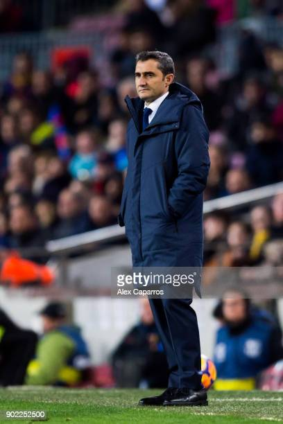 Head coach Ernesto Valverde of FC Barcelona looks on during the La Liga match between Barcelona and Levante at Camp Nou on January 7 2018 in...