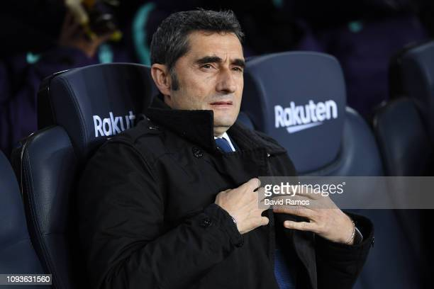 Head coach Ernesto Valverde of FC Barcelona looks on prior to the La Liga match between FC Barcelona and SD Eibar at Camp Nou on January 13, 2019 in...