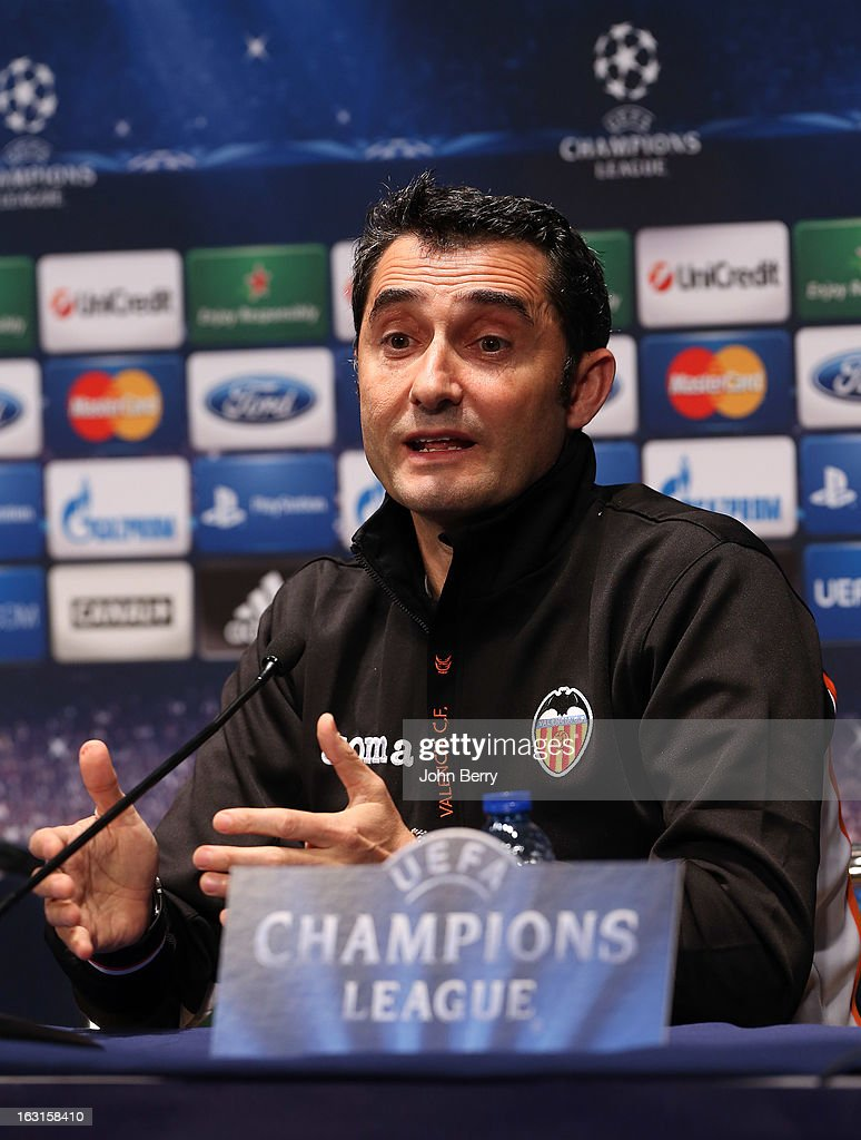 Head coach Ernesto Valverde of Valencia CF attends a press conference on the eve of the Champions League match between Paris Saint Germain FC and Valencia CF at the Parc des Princes stadium on March 5, 2013 in Paris, France.