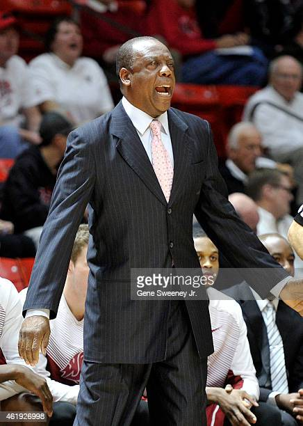 Head coach Ernie Kent of the Washington State Cougars yells cross court during their game against the Utah Utes at the Jon M Huntsman Center on...