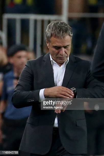 Head coach Ersun Yanal of Fenerbahce is seen during Turkish Super Lig week 3 match between Fenerbahce and Trabzonspor at Ulker Stadium on September...